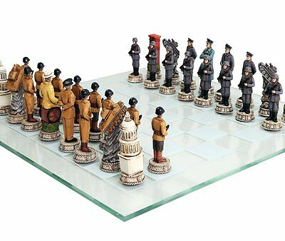 Hand Painted Chess (World War 2 Themed Chess Set US vs Germany Hand Painted with Glass)