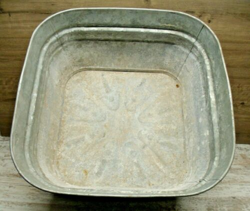 Vintage Large Galvanized Square Metal Wash Stand Tub