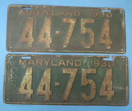 1930 Maryland license plates matched pair popular Model A year
