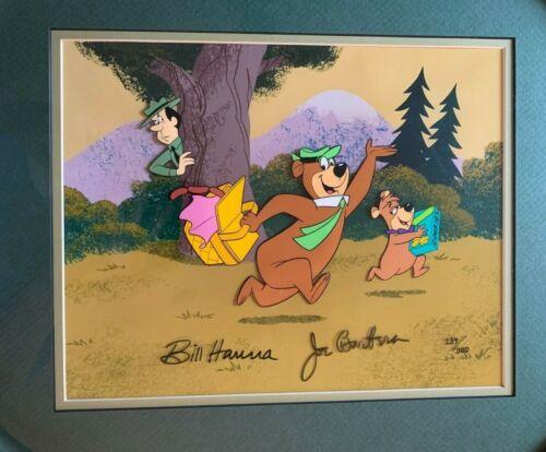 Bill Hanna & Joe Barbera Signed & Framed Yogi Bear, Boo-Boo Animated Cell #/300