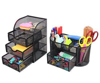 Pag Office Supplies Mesh Desk Organizer Set Pen Holder Accessories Storage Caddy