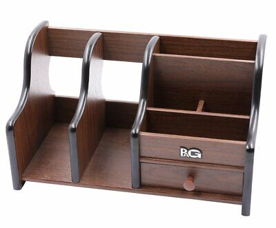 Desk Organizer Wood Office Storage Holder Desktop Drawer Shelf Tray File Pen
