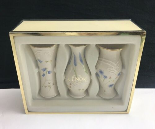 """NEW IN BOX Classic Lenox Bud Vase Trio Floral Ivory Gold 5"""" - Set of 3"""