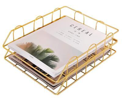 Superbpag Stackable Desk File Letter Tray Organizer Set Of 2 Gold