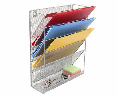 Wall Mount File Organizer Holder 5pocket Metal Mesh Hanging Folder Silver