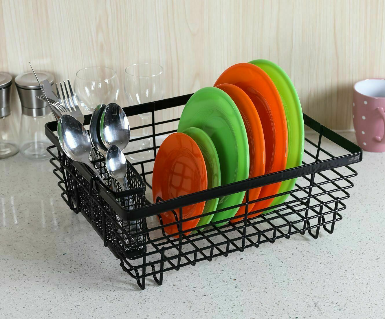 ESYLIFE Kitchen Dish Drainer Drying Rack with Drip Tray and Full-Mesh Silverware