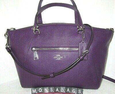 Coach Prairie Dark Amethyst Leather Satchel Crossbody Handbag 79997 NWT $328