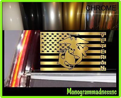 (MARINE CORPS VETERAN Flag Decal Sticker Car Truck Vehicle Window High Quality)