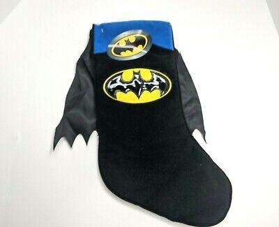 Batman Christmas Stocking Xmas Black Cape Holiday Blue DC NWT