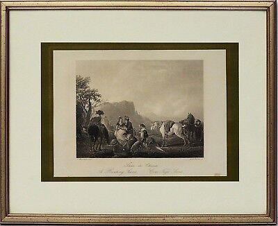 Stahlstich um 1840 Jagdszene Jagd Hunting Chasse 37x30 cm Hunde Pferde Personen