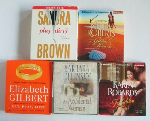 Lot of 5 CD Audiobooks Sandra Brown Karen Robards Nora Roberts Delinsky +