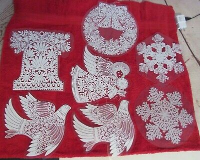 Lot of 7 Clear/White Plastic Christmas Hanging Wall/Window Decor Angel Bell Dove - Plastic Snowflakes Bulk