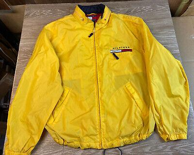 Vintage 90s Tommy Hilfiger Men's XL Hooded Windbreaker Jacket Spell Out Full Zip