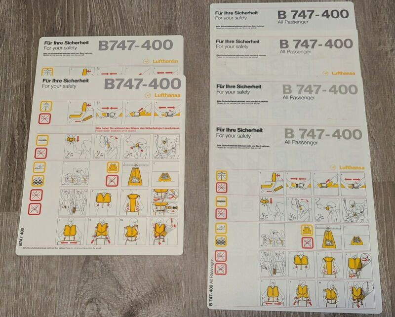 Lot of 6 Lufthansa Airline Safety Cards Boeing 747-400 All Passenger