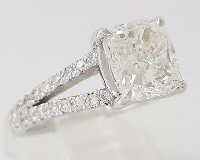 2.59 ct Platinum Cushion Cut Diamond Split Shank Engagement Ring GIA F / VVS1 9
