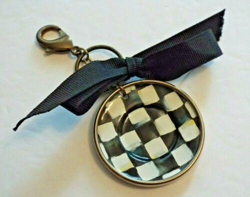 MacKenzie Childs COURTLY CHECK Plate Key Chain Ring Ornament ENAMEL Black White