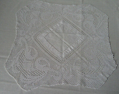 Antique / Vintage Hand Made Fine Hand Crochet Knit Lace Edged Tray Cloth, Vgc