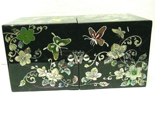 Vintage Korean Black Lacquer Fold Out jewelry Box with MOP Inlay Butterflies