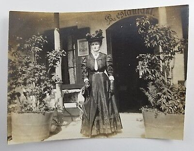 Snapshot Photograph Woman Standing Outside of Restaurant Early 1900s Fashion