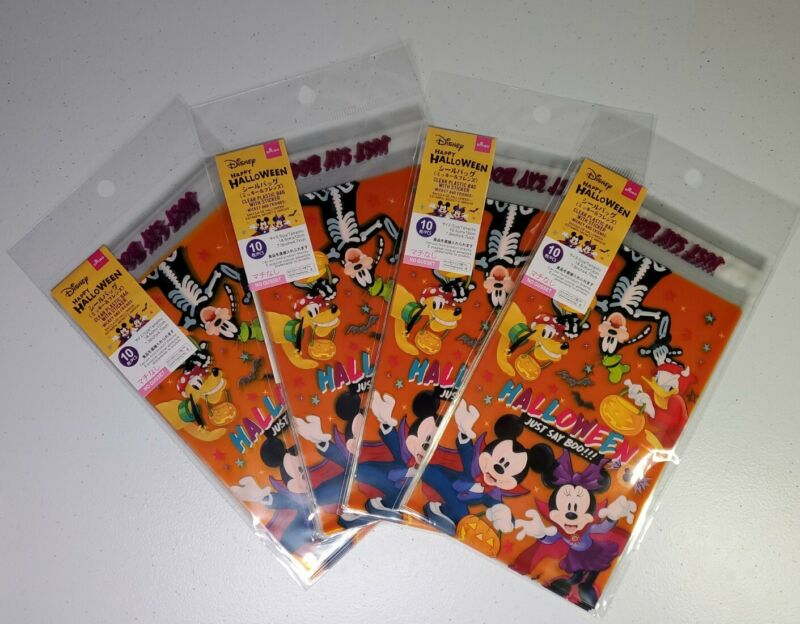 DAISO Disney Mickey and Friends Happy Halloween Clear Plastic Bag Treat Bags 40