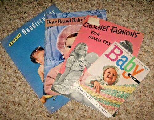VINTAGE~LOT OF 4 BABY & CHILDREN CROCHET & KNITTING BOOKLETS~GD/VGC~LOT #Z