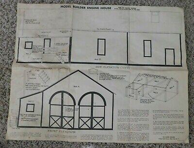 Model Engine Builder - MODEL BUILDER ENGINE HOUSE O Gauge Train   Large Instruction Sheet  Vintage