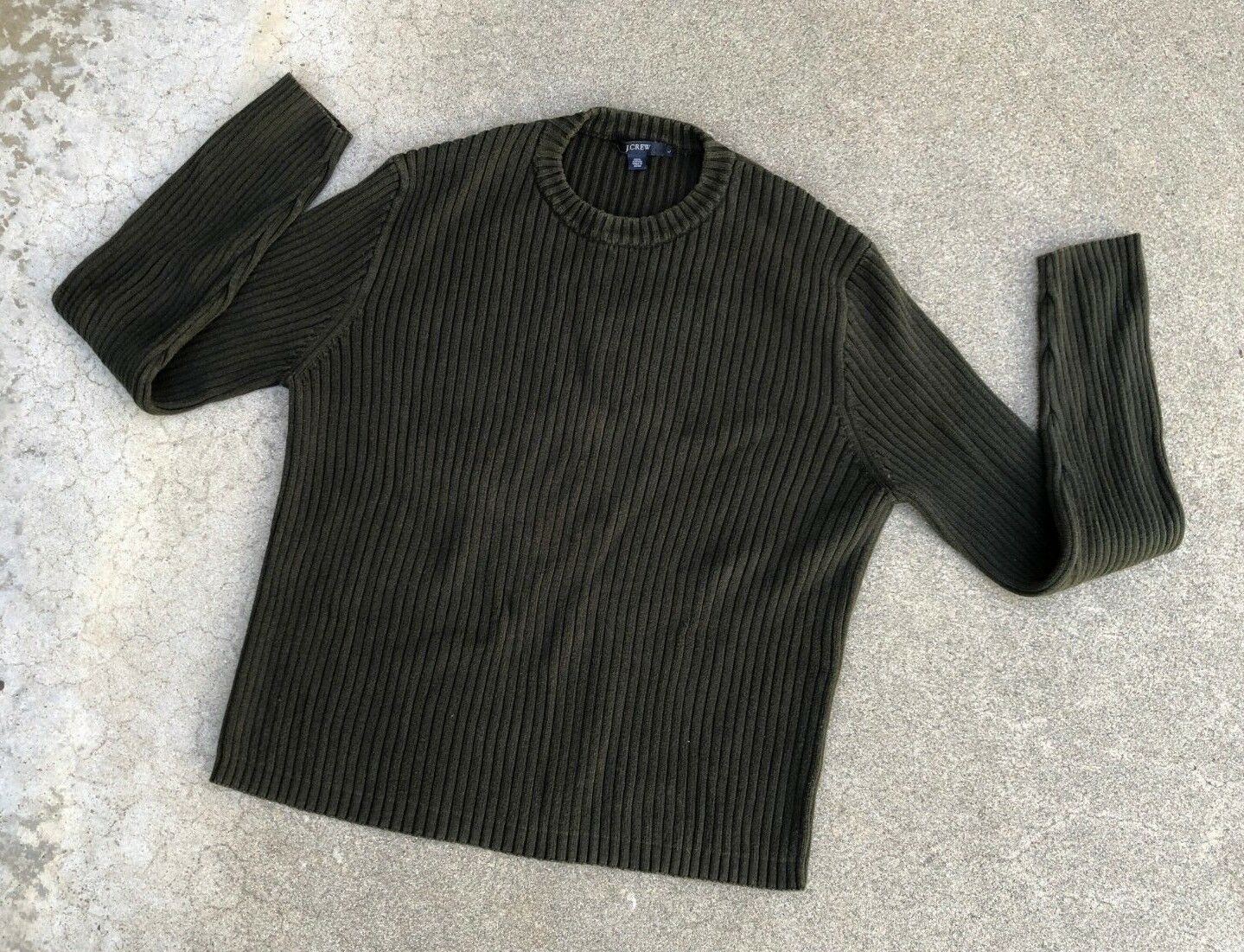 J.Crew Herren Vintage Cargo Grün Winter Gerippt Pullover Größe L