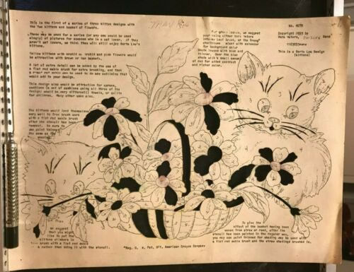 Vera Waters #4070 Wax Stencil for Textile Painting Kittens Flowers Vintage Used