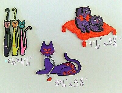 ANIMAL / PURPLE CAT / CRAZY KITTY PATCH  EMBROIDERED IRON ON APPLIQUE  - Crazy Animal