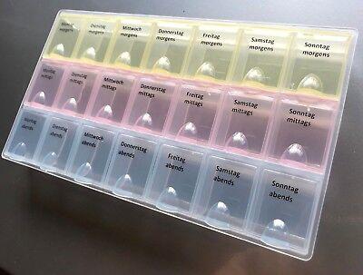GROßE Pillendose Medikamentenbox 7 Tage Tablettenbox Pillenbox Tablettendose