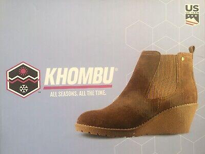 "Khombu ""Liz"" - Memory Foam Suede Leather Wedge Ankle Boots - Chestnut Size UK 6"