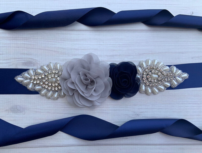 Navy And Gray Wedding / Bridal Rhinestone Flower Sash Belt .