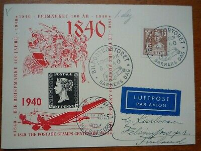 Sweden 1st Day commemorative card - Postage Stamp Centenary (1940)
