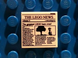LEGO-White-Tile-2x2-with-Newspaper-THE-LEGO-NEWS-MINT-10937-10233-76005-NEW