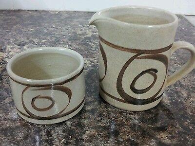 Vintage Studio Pottery Stoneware Milk Jug & Sugar Bowl Abaty Pottery Wales