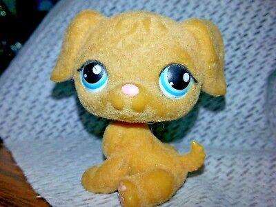 Littlest Pet Shop #320 Golden Retriever Puppy Dog Tan Fuzzy - Blue Dot Eyes LPS