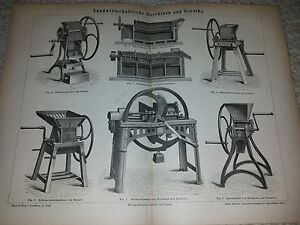 Uralte Tafel Landwirtschaftliche Geräte und Maschinen aus Lexikon um 1895