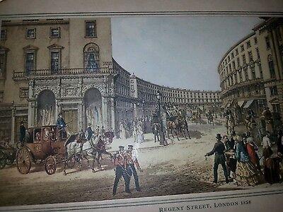 Antique  London Regent street  scene  tray
