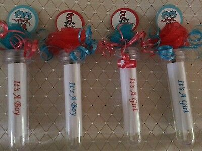 30 Dr Seuss Cat in the hat thing 1 &2 baby shower favor wildflower seed tubes