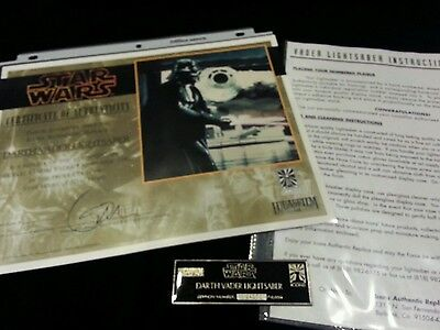 ICONS Darth Vader Lightsaber ORIGINAL COA & Instructions PLAQUE Certificate 4075