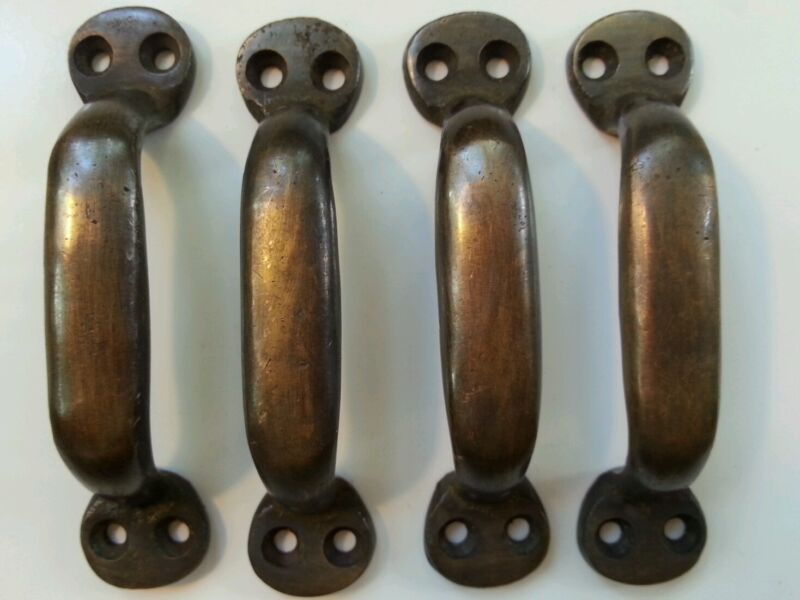 """4 Solid brass antique strong file cabinet trunk handles,handcast 3 7/8"""" wide #P2"""