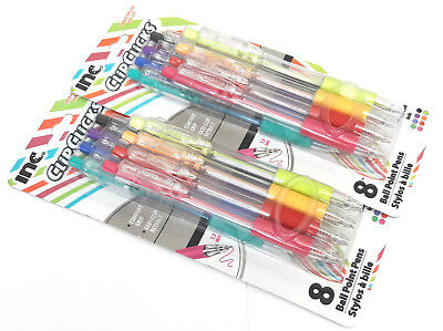 2 Packs 16 Pens Inc Clipclicks Comfort Grip Retractable Assorted Ink Colors