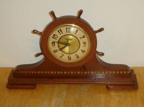 Vintage Art Deco Windsor Gibraltar Mfg. Co. Electric Ships Wheel Nautical Clock