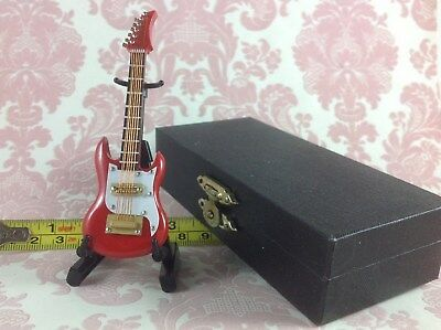 Dollhouse Miniature Musical Instrument Red Rock Guitar Decor w/ Case n Stand 9cm - Guitar Decorations