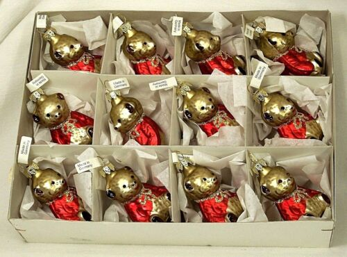 Box of 12 Boy Teddy Bears in Red   Blown Glass Christmas Tree Ornaments Germany