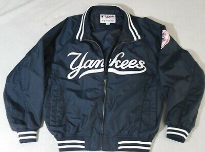 Vintage NEW YORK YANKEES Satin Dugout Jacket Coat  by Majestic Adult Size Large