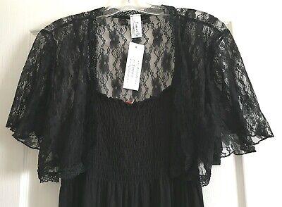 BLACK LACE Shrug Cover Up Short Jacket Evening Open Top Bolero Wrap XL 2X 3X - Evening Bolero Jacket