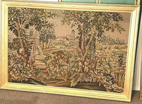 """Antique Tapestry Wall Hanging Framed 21"""" x 18"""""""