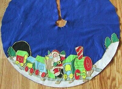 """Vintage Felt CHRISTMAS TREE SKIRT, 35"""" Round, Santa on Train"""