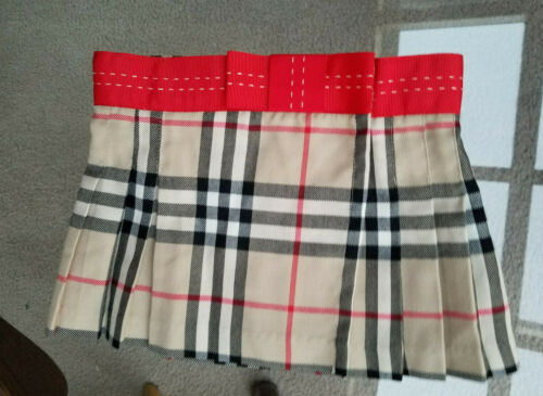 Burberry Girls Wrap Pleated Skirt Nova Check Red Bow Size 3  25176